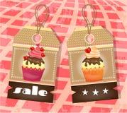 Twee markeringen met cupcakes Royalty-vrije Stock Foto