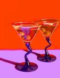 Twee Martini op Rood Royalty-vrije Stock Afbeeldingen