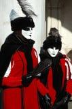 Twee maskers in Carnaval van Venetië, 2011 Stock Fotografie