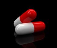 Twee medische pillen Stock Afbeelding