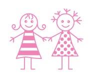 Twee meisjes stock illustratie