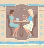 Twee meisjes bij een koffie royalty-vrije illustratie