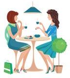 Twee meisjes bij een koffie stock illustratie
