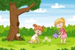 Twee meisjes in de tuin stock illustratie