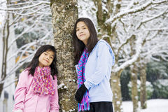 Twee meisjes in de winterscène Royalty-vrije Stock Foto's