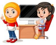 Twee meisjes die aan computer werken vector illustratie