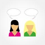 Twee meisjes die aan elkaar spreken stock illustratie