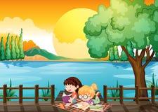 Twee meisjes die bij de houten brug bestuderen vector illustratie