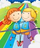 Twee meisjes die bij het gebied lopen stock illustratie