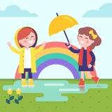 Twee meisjes die in de regen en de regenboog spelen royalty-vrije illustratie