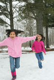 Twee meisjes die de sneeuw doornemen Stock Afbeelding