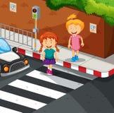 Twee meisjes die de weg kruisen royalty-vrije illustratie