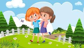 Twee meisjes die in een park lopen stock illustratie