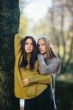 Twee meisjes die in het park stellen stock foto