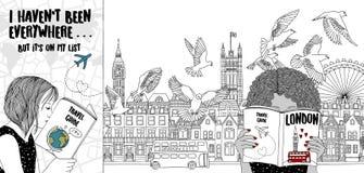 Twee meisjes die in Londen reizen stock illustratie