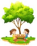 Twee meisjes die onder een boom eten vector illustratie