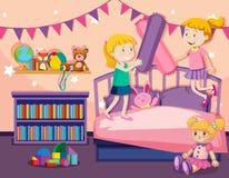 Twee meisjes die op bed springen royalty-vrije illustratie