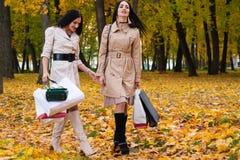 Twee meisjes die park met het winkelen in handen lopen Royalty-vrije Stock Fotografie