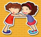 Twee meisjes die samen spelen stock illustratie
