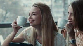 Twee meisjes drinken koffie in koffie stock video
