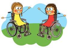 Twee meisjes in een rolstoel stock illustratie