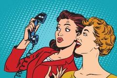 Twee meisjes en een telefoon vector illustratie