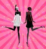 twee meisjes het dansen Stock Foto