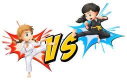 Twee meisjes het vechten vector illustratie