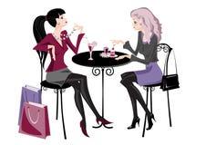 Twee meisjes in koffie royalty-vrije illustratie