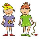 Twee meisjes met bal en springtouw, eps Stock Foto's