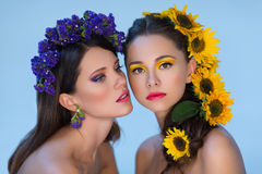 Twee meisjes met bloemen in haar Stock Foto