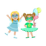 Twee meisjes met geschilderde gezichten vector illustratie