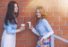 Twee meisjes met koppen van koffie spreken stock afbeelding