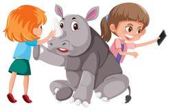 Twee meisjes met leuke rinoceros stock illustratie