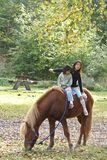 Twee meisjes met paard stock fotografie