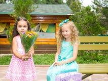 Twee meisjes op gelukkige verjaardag Jong geitje in park Stock Foto
