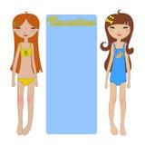 Twee meisjes op het strand Stock Fotografie