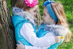 Twee meisjes in park in de lente royalty-vrije stock foto