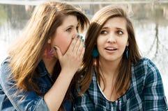 Twee meisjes roddelen Royalty-vrije Stock Afbeeldingen