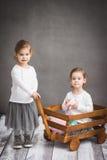 Twee meisjes spelen met karretje Stock Afbeeldingen
