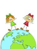 Twee meisjes ter wereld Stock Foto's