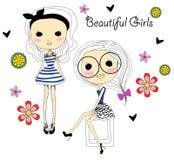 Twee meisjes van de manierschets royalty-vrije illustratie