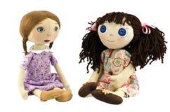 Twee meisjes van de voddenpop met blond en brow haren stock afbeeldingen