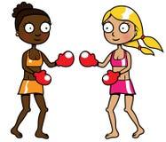 Twee meisjes van het verschillende het behoren tot een bepaald ras in dozen doen Stock Illustratie