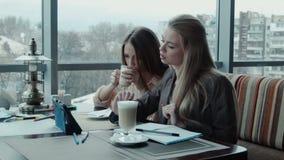 Twee meisjesontwerpers bespreken het project gebruikend tablet in koffie stock videobeelden
