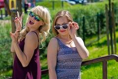 Twee meisjesvrienden die pret hebben Royalty-vrije Stock Foto's