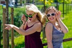 Twee meisjesvrienden die pret hebben Stock Foto