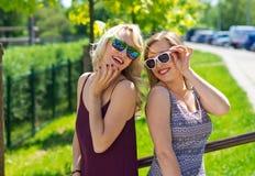 Twee meisjesvrienden die pret hebben Stock Fotografie