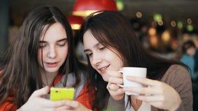 Twee meisjeszusters die smartphone gebruiken die in koffie spreken stock video
