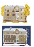Twee meningen van de oude bouw: in de herfst en in de winter Stock Fotografie